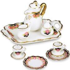SALE Dollhouse Tea Coffee Set w Tray 1.342/8 Reutter Black Rose for 2 Miniature