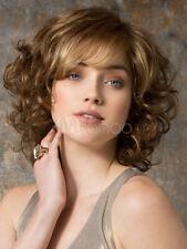 100% Human Hair Natural Medium Wavy Light Brown Fashion Women's Wig