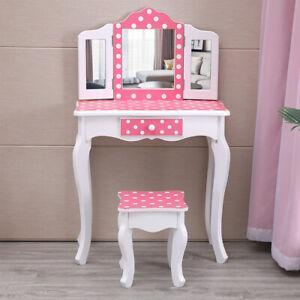 Kids Vanity Set Little Girls Makeup Princess Dressing Dresser Desk Children Gift