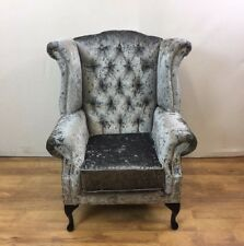 Steel Grey Crushed Velvet Queen Anne Wing Chair with silver studs - black legs