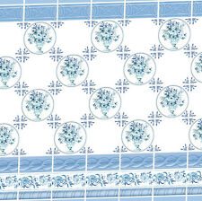 Dolls House Victorian Wallpaper Blue Kitchen Bathroom Quality Satin Paper #28