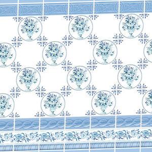 Dolls House Victorian Wallpaper Blue Kitchen Bathroom Quality Matte Paper #28
