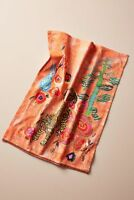 Anthropologie Bath Towel LINDIE HAND Coral Flowers Cotton Coral Turkey NWT