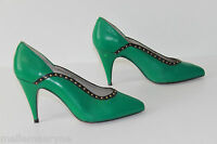 Vintage Court Shoes Alma Flecher all Leather Green T 35 Be