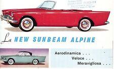 depliant Brochure,NEW SUNBEAM ALPINE  AUTO CAR,ENGLAND LONDON,Rootes Group