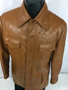 Vtg 70s National Brown FAUX Leather ROCKABILLY Cowboy Lined Shirt Western Jacket