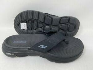 NEW! Skechers Men's GOwalk 5 Lango Slip On Thong Sandals Black #229009 142K tz