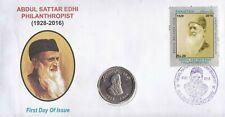 Pakistan Fdc 2016 Coin Cover Abdul Sattar Edhi Humanintarian