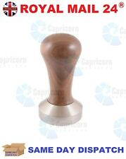 DOMESTIC COFFEE TAMPER WALNUT WOODEN HANDLE STAINLESS STEEL 51MM FLAT BASE