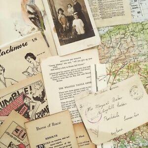 Vintage Paper Ephemera 50 Pack GCSE A Art Text Illustrations, crafting, English