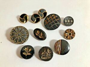 Antique Black Glass Buttons - Assorted Designs  with Gold Luster #2