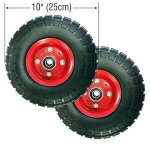 """2X10"""" Pneumatic Sack Truck Trolley Wheel Barrow Foam Tyre Puncture Proof"""