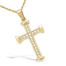Pendentif Croix Sertie de Diamant  Cz 22mm Plaqué Or 18K 3 Microns Dolly-Bijoux
