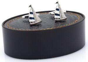 NOVELTY BLUE YACHT SHIP SAILOR CAPTAIN SEA CUFF LINKS CHRISTMAS BNIB NEW UK