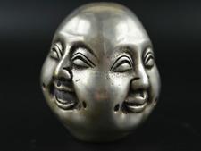La Chine Collection Tibet Silver Life 4 émotions Quatre Visages de Bouddha Tête statue