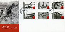 Gibraltar 2015 FDC WWI WW1 World War I Part II 6v Set Cover Ships Tanks Stamps