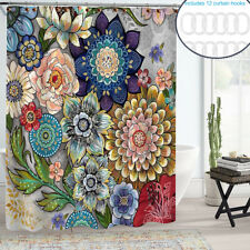 Boho Floral Shower Curtain Set Waterproof Curtain for Bathroom Decor & 12 Hooks