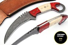"10"" NEW DAMASCUS STEEL KARAMBIT KNIFE COMBAT KNIFE HUNTING KNIFE BONE HANLDE103"