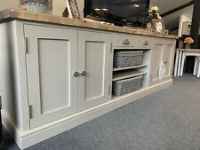 Large 7ft Farmhouse TV Media Unit Painted Farrow And Ball Drop Cloth