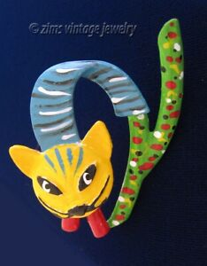 Vintage unusual MODERNIST Colorful enamel Kitty CAT abstract figural PIN brooch