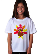 Turkey With Polka-Dot Tail And Bow Thanksgiving Youth Girl T Shirt YXS-YXL White