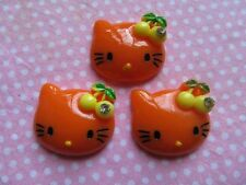 20  Resin Hello Kitty Flatback Button w/Cherry Flatback-Orange