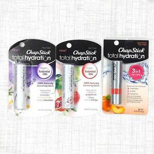 Lot of 3 different ChapStick Lip Balms Total Hydration .12 oz