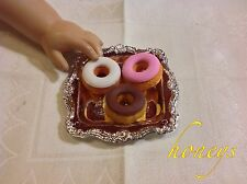 "For 15""-18"" Girl Dolls Pretend Play Food TRAY W/DELICIOUS ICED DONUTS on a Tray"