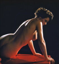 Vintage Stereo Realist Photo 3D Stereoscopic Slide NUDE Brunette Backlit w Table
