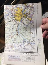 Vintage Kansas City Sectional Aeronautical Chart, 1967. 60th Edition