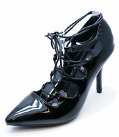 LADIES BLACK COURT GLADIATOR HIGH HEEL POINTY LACE-UP VICTORIAN SHOES SIZES 3-8