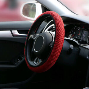 "13""-15"" Soft Mesh Car Steering Wheel Cover Anti-static Non-slip Black Summer sy5"