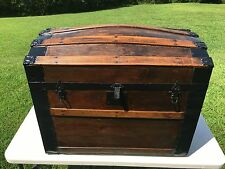 ANTIQUE HUMPBACK DOME TRUNK FROM THE 1800's Refinished Inside Original Hardware