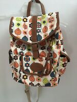 Lily Bloom Natural Cotton Canvas Backpack Drawstring 3 Exterior Pockets Floral