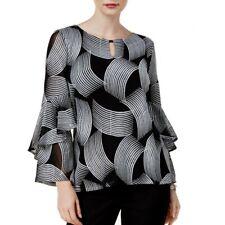 ALFANI NEW Women's Black Embroidered Spiral-sleeve Mesh Blouse Shirt Top S TEDO