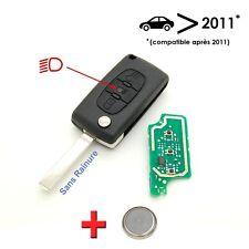 Clé électronique à programmer Citroen C2 C3 C4 C5 3 bouton sans rainure 2011+