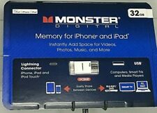 Monster Digital Memory for iPhone and iPad 32GB NEW IN BOX Card Reader & Adapter