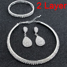 Trendy Crystal Diamond Choker Necklace Earring and Bracelet Wedding Jewelry Set