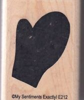 """mitten my sentiments Wood Mounted Rubber Stamp  1 1/2 x 2""""  Free Shipping"""