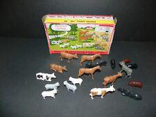 PLASTICVILLE U.S.A. ~ VINTAGE 1606 100 BARNYARD ANIMALS ~ With Nice Original Box