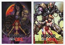 2016 Braiiinz Publishing Horror Meets Girl Philly Show Promo Card Set P01 & P02