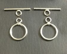 2 Set .925 Sterling Silver round shape Plain Toggle Clasp Beading Supplies