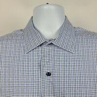 David Donahue Blue Check Plaid Mens Dress Button Shirt Size Large L