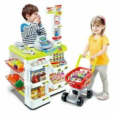 Childrens Pretend Role Play Big Supermarket Shop Toy Set Trolley & Food Play Set