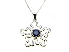 Sterling Silver pendant set with purple stone - Complete with chain & box