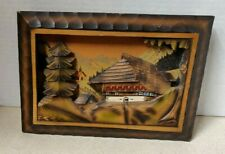 Vintage Hand Carved Painted Wood 3D Diorama Mountain Art Chalet Cabin Swiss Alps