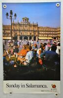 """Vintage 1980s Spain Travel Poster """"Sunday In Salamanca"""" 24 x 39"""