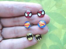 Superhero marvel  batman, superman, spider man stud earrings-BUY 1 GET 1 FREE