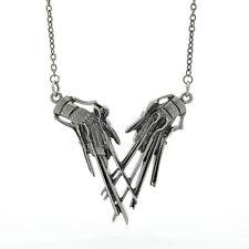 Rock Rebel Edward Scissorhands Claw Necklace Tim Burton Movie Metallic Icon