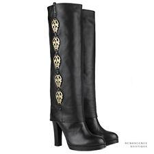 Thomas Wylde Black Leather Knee-High Gold Metal Skull Detailed Boots US6 UK3